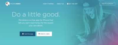 MicroHero Surveys App Gives to Marketers and To Charity