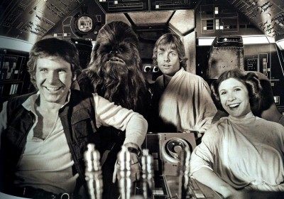 Chewie, Luke, Hans and Leia from the original Star Wars