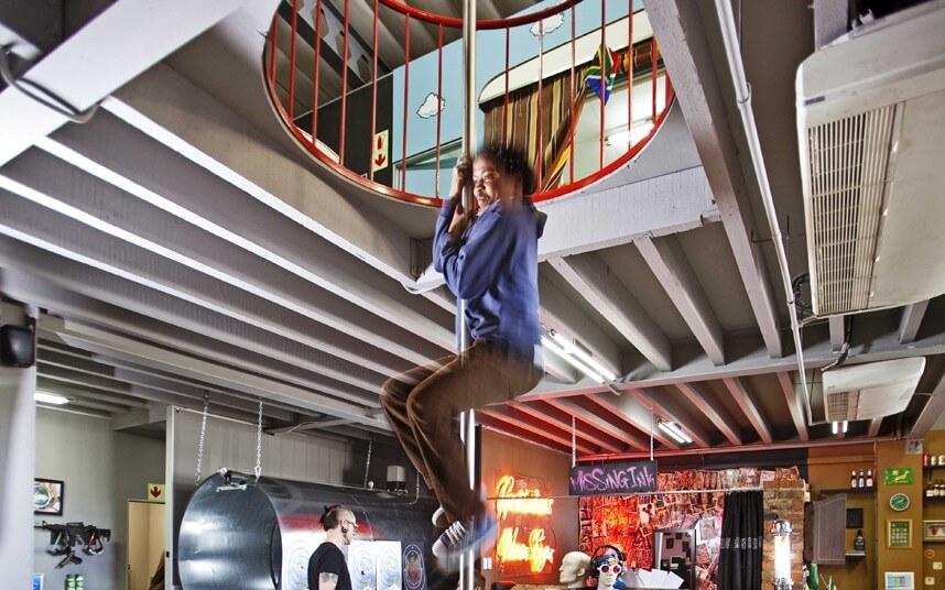 fireman pole in a cool office
