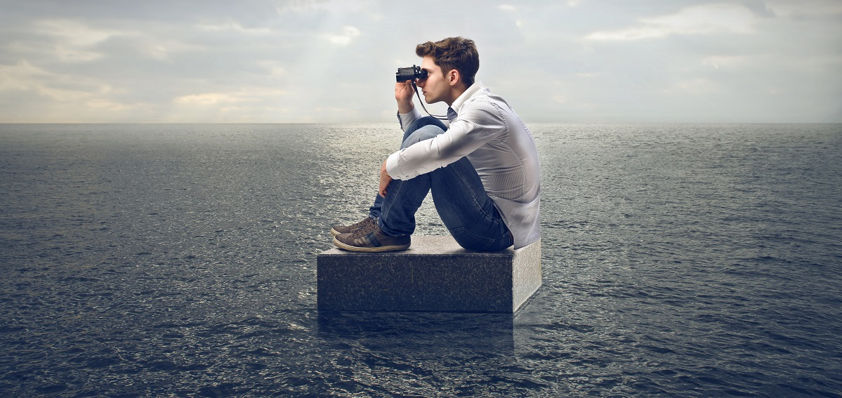 entrepreneur monitoring online reputation with binoculars