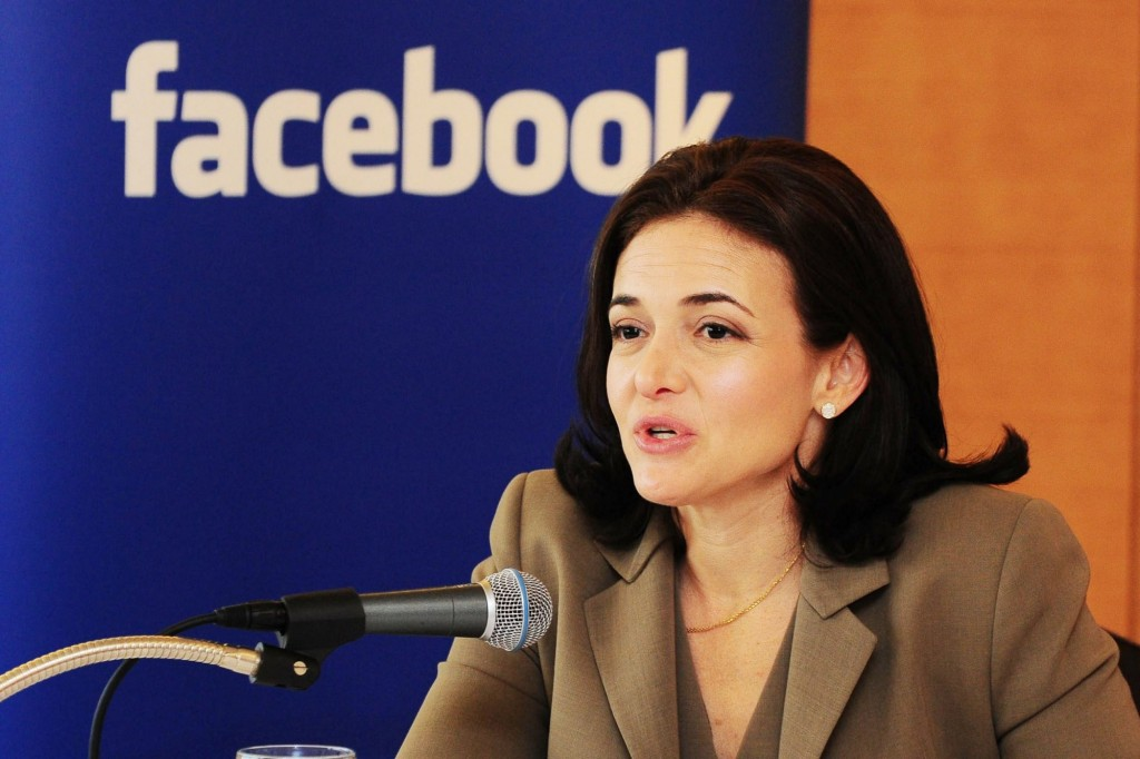 "Sheryl Sandberg announcing ""like attacks"" at news conference"