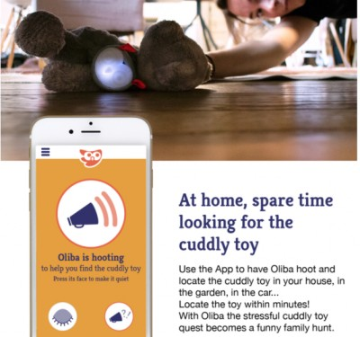 woman finds smart toy under bed with Oliba app