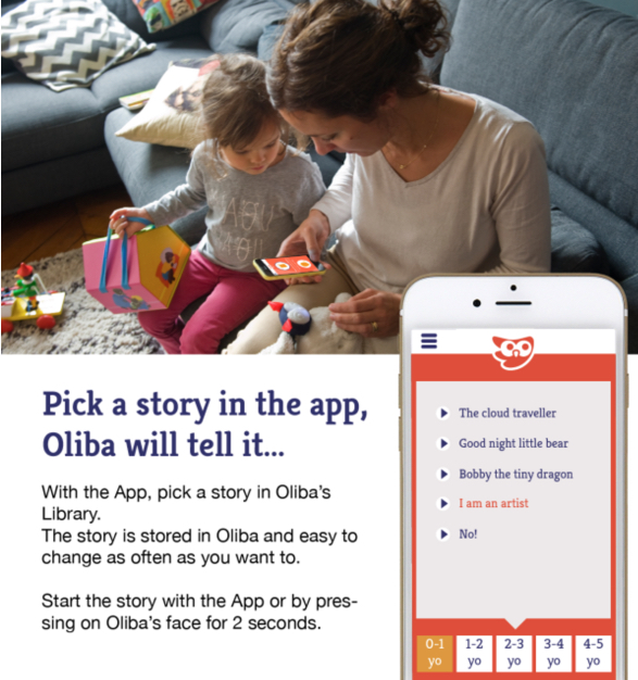 mom setting Oliba smart toy app to tell story