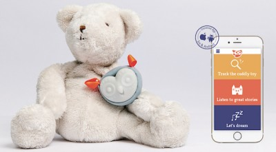 The Oliba smart toy device and app on a stuffed bear