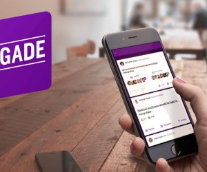 Brigade app shown on iPhone with person engaging in political debate