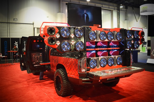 truck tricked out with massive speakers at CES 2016