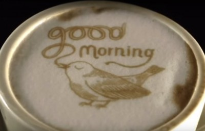 """Latte art saying """"Good Morning"""" made by the Ripple device"""