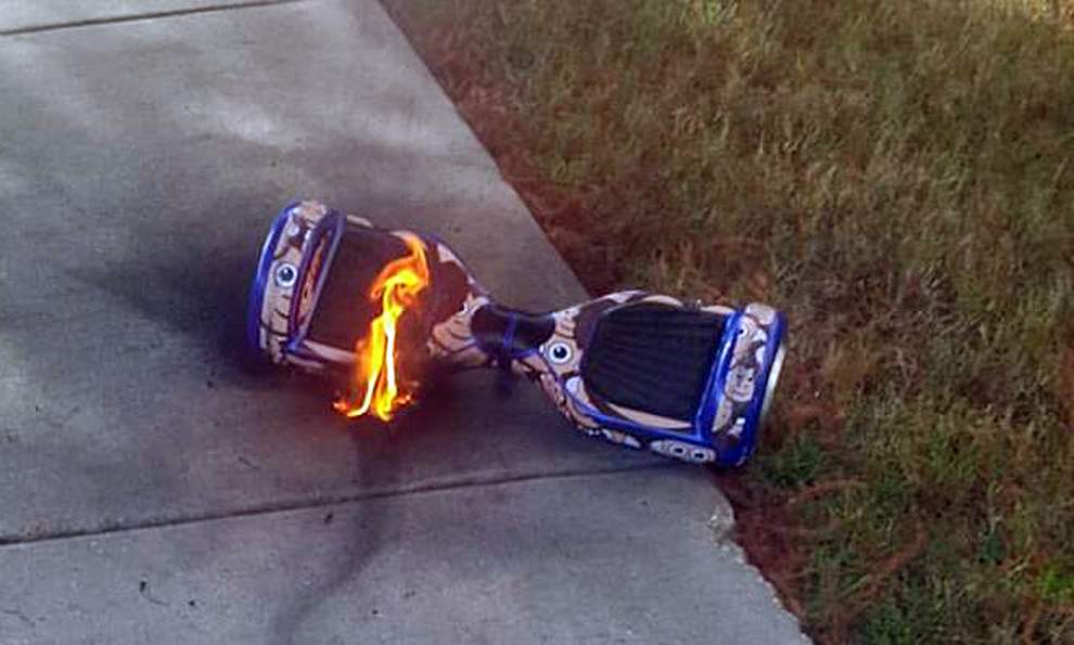 burning hoverboard that can be returned to Amazon