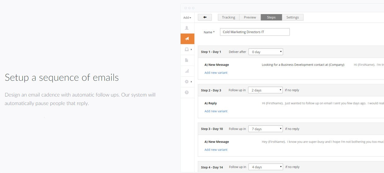 Reply sales email automation screenshot