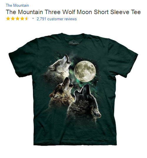 Wolf t-shirt from Amazon that has funny reviews