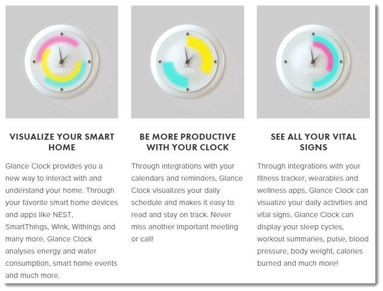 Glance smart clock features