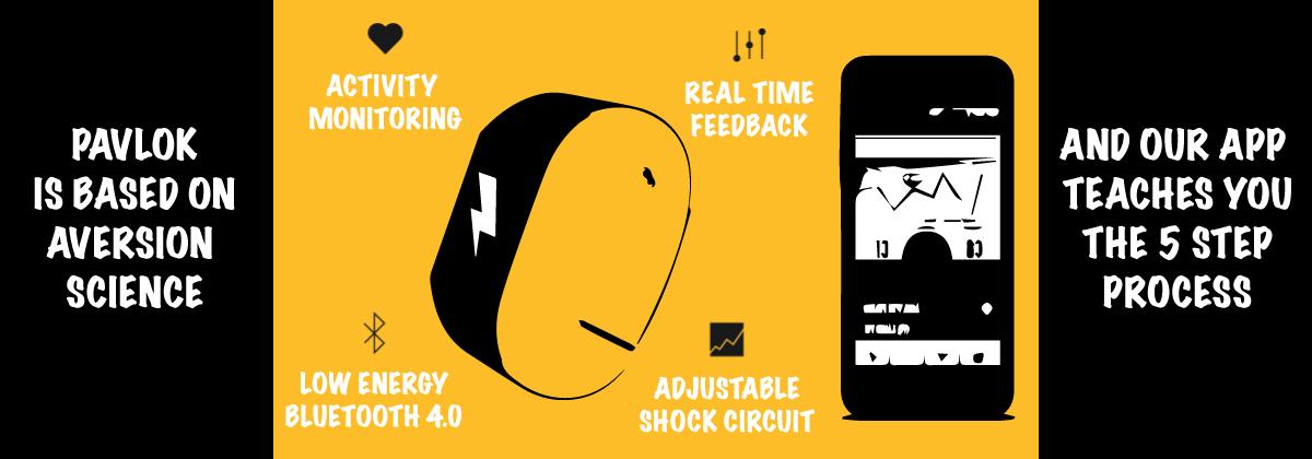 Pavlok wearable is based on aversion science and our app teaches you the 5 step process