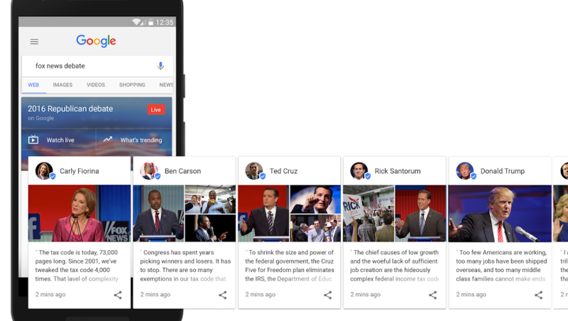 Google screenshots of political tweets from presidential candidates