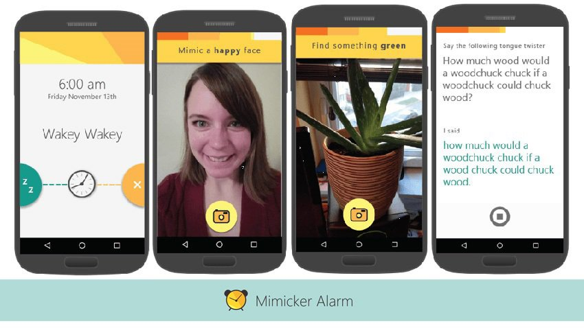 Microsoft Mimicker alarm app screenshots
