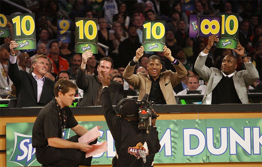 judges at NBA dunk competition holding up perfect 10 signs