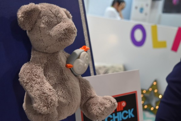 Oliba smart toy device on display at CES 2016
