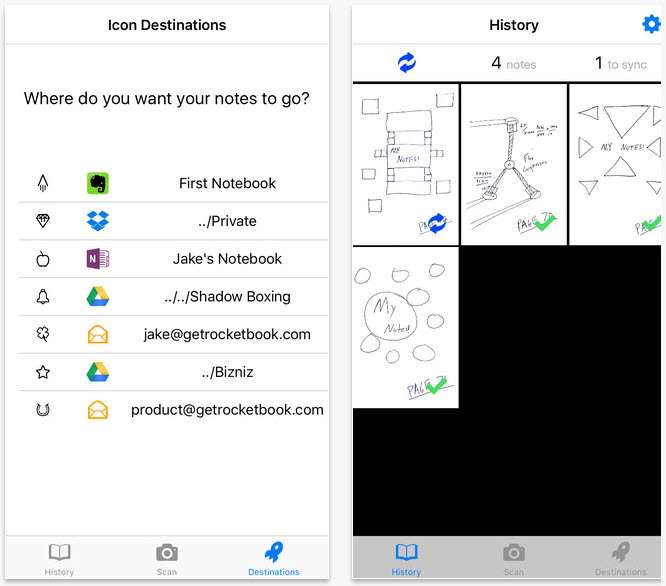 RocketBook smart notebook app screenshots