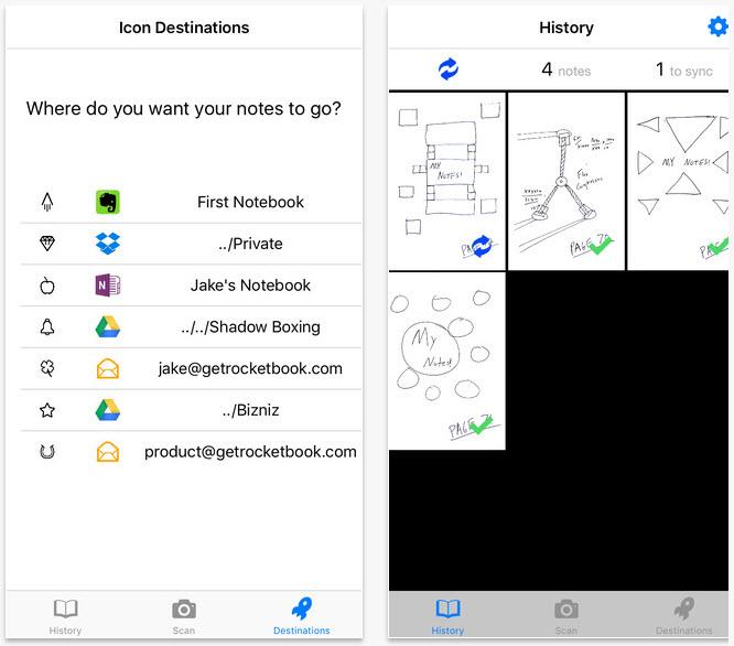 RocketBook smart notebook app screenshots