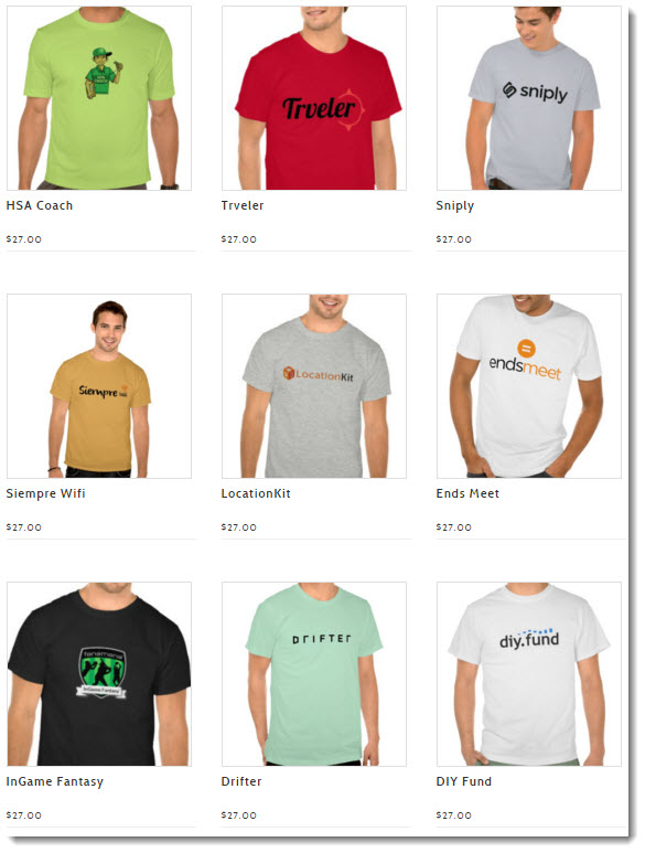 tshirts with startup company logos