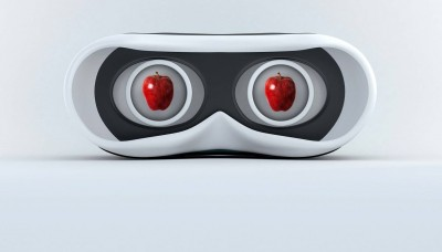 vr goggles with apples in the eye