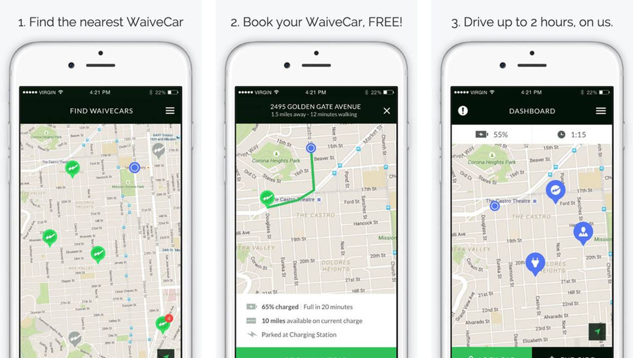 WaiveCar car sharing screenshots
