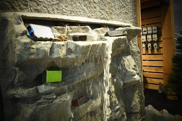 wall of waterproof speakers at CES 2016
