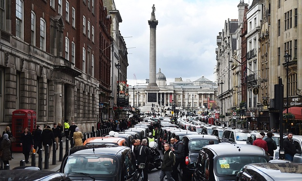 London traffic jam from Uber protests