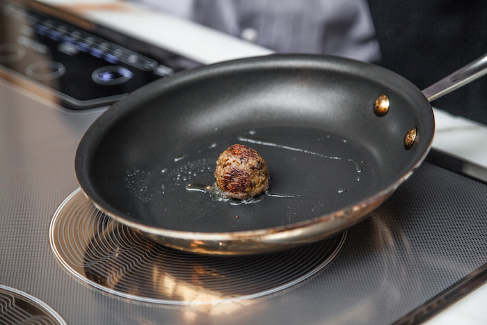 meatball made from lab-grown cultured meat by Memphis Meats