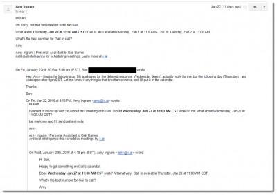 amy ingram xai email chain example