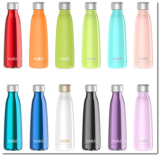 Seed smart water bottles in various colors