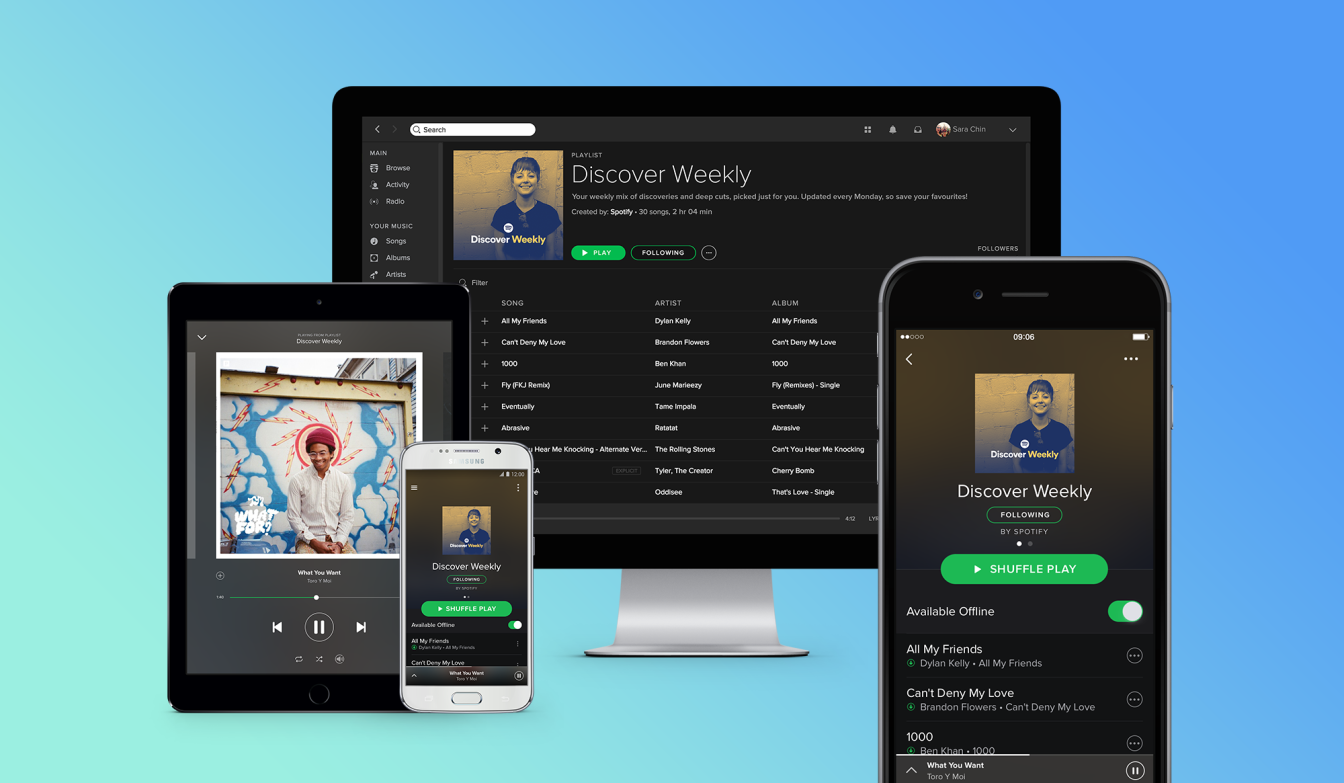 Spotify on multiple devices taking on Apple Music