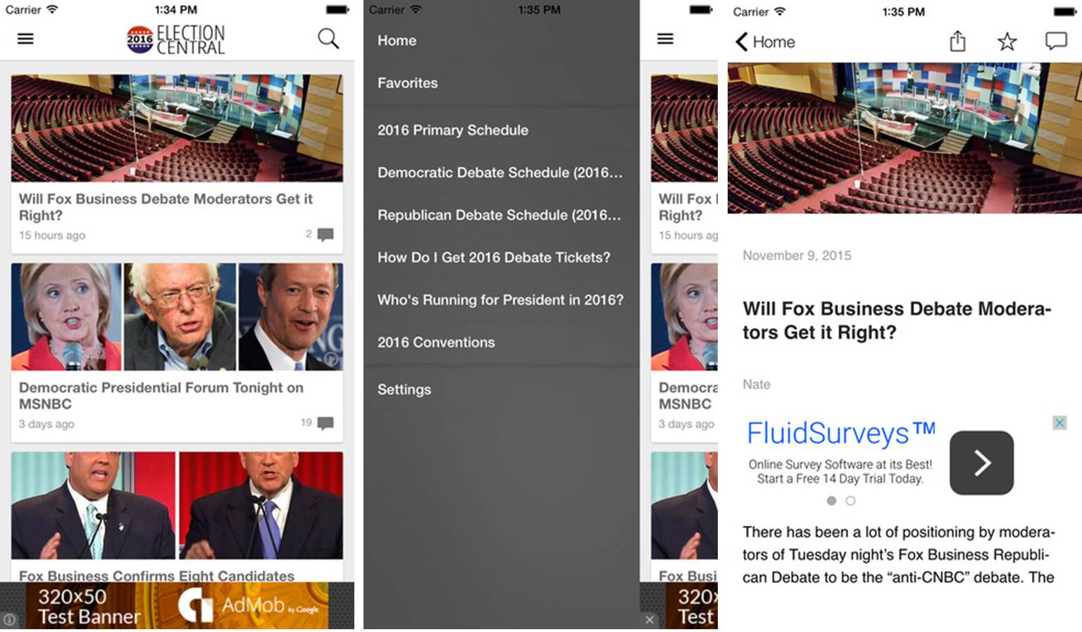 2016 Election App political news aggregator