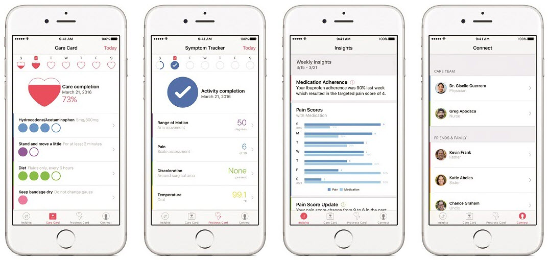 electronic medical data on Apple CareKit screens