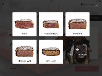 cinder app select doneness  orig