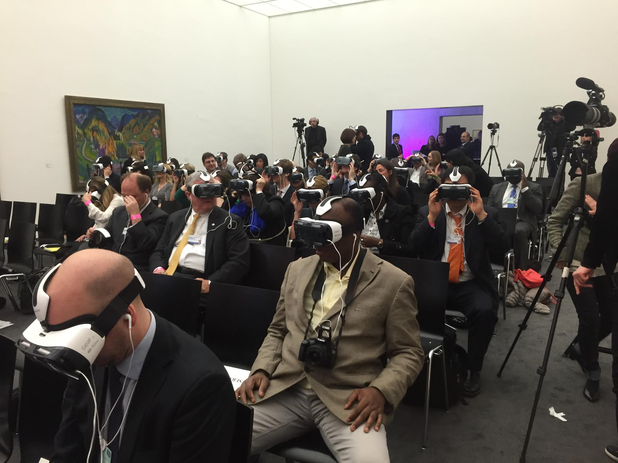 virtual reality headsets on World Economic Forum attendees
