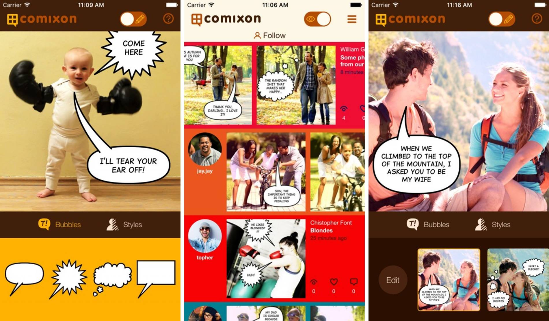 Comixon photography to comic strip app screenshots