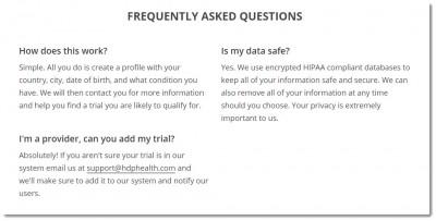 clinical trials application FAQ