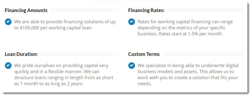 lendvo working capital loan information