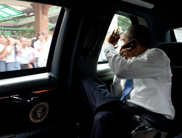 President Obama on secured Blackberry phone