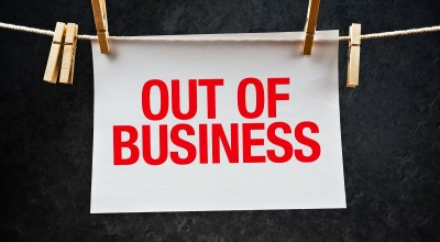 out of business sign from startup in accelerator
