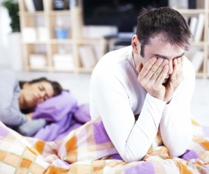 person with insomnia not using sleep tech