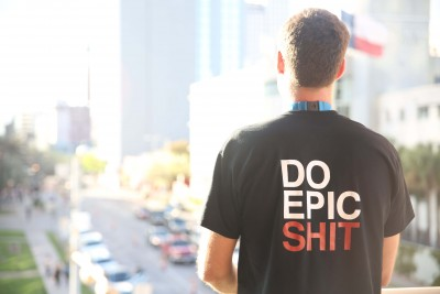 Benjamin Mann of Snapmunk wearing Do Epic Shit shirt at SXSW