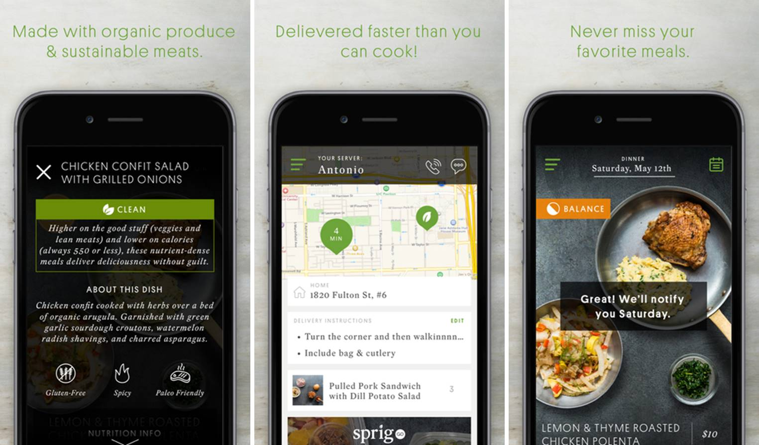 Sprig organic meal delivery app
