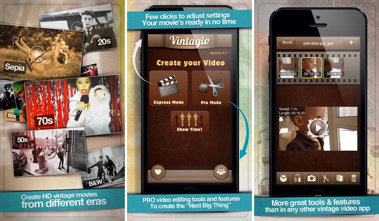 Vintagio video editing app