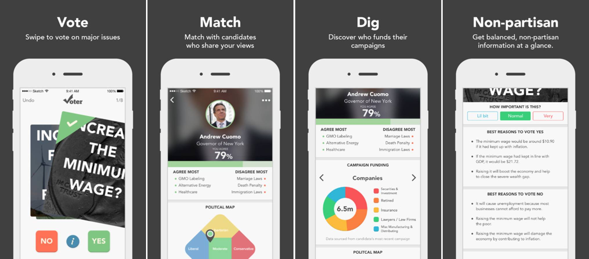Voter political matching app