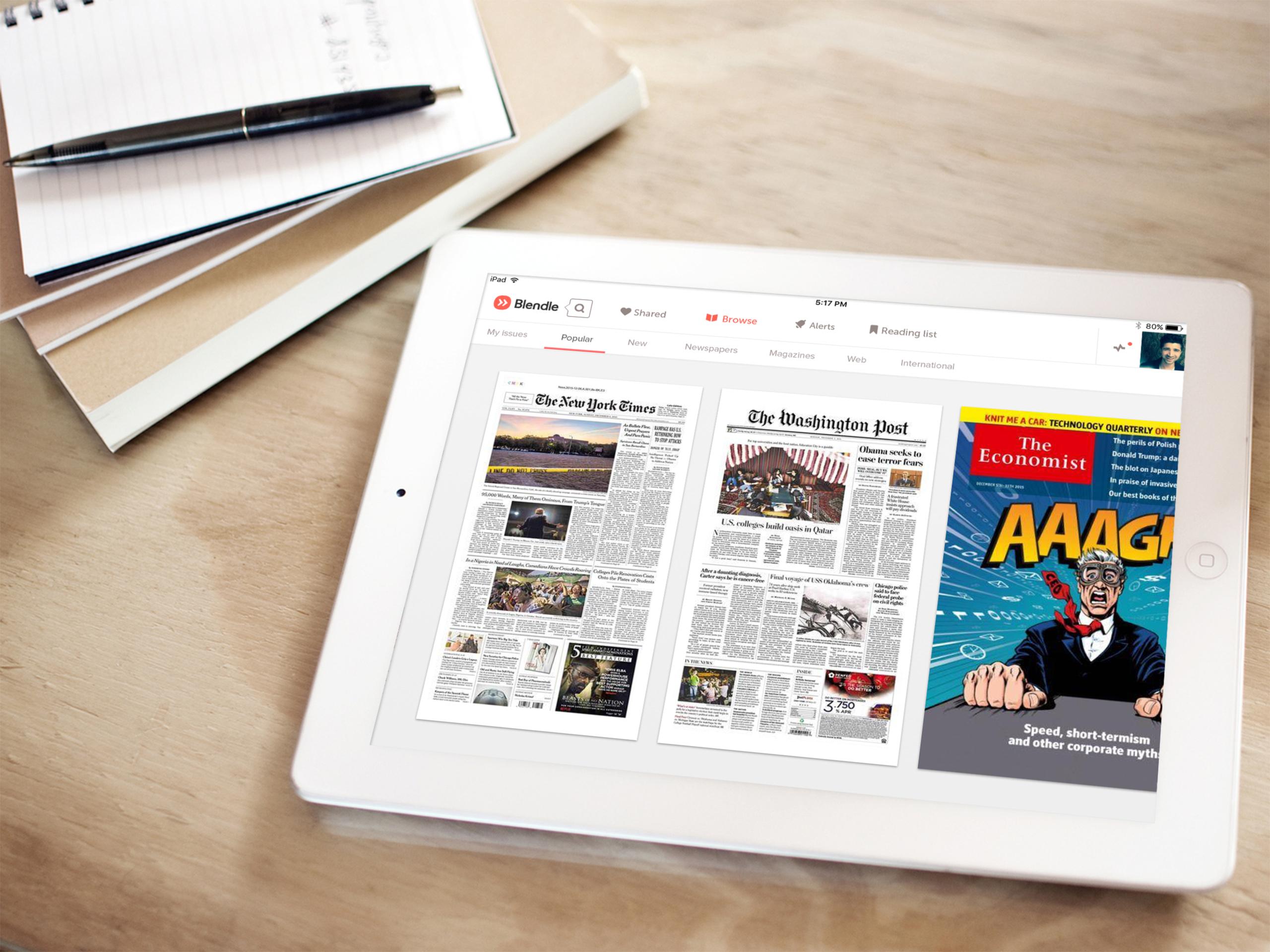 digital newspapers on the Blendle iPad app