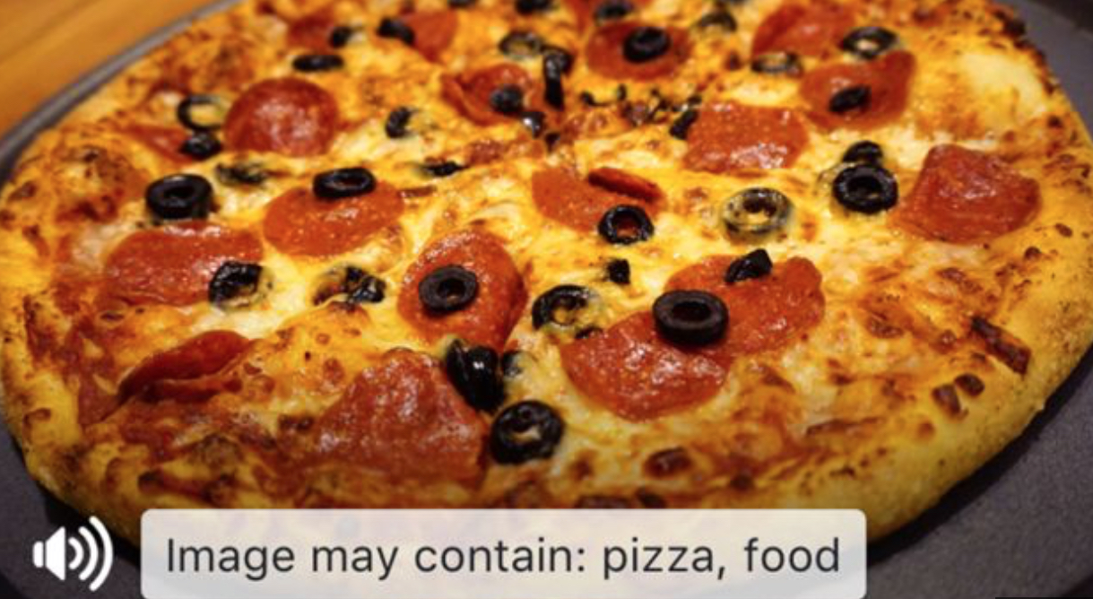 Facebook artificial intelligence describing picture of pizza
