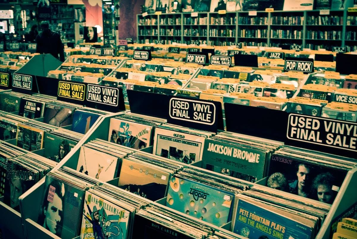 vinyl record store that is outpaced by music streaming services