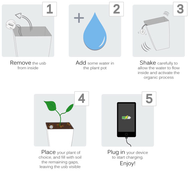 how to charge a phone using the Bioo plant charger