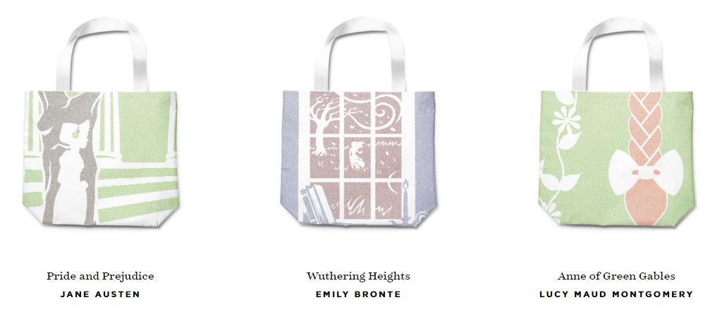 totebags printed with words from classic books